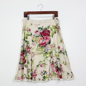Cabi Cream Floral A-line Skirt Sz 10